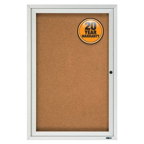 Quartet® Enclosed Cork Bulletin Board for Outdoor Use, 3' x 2', 1 Door, Aluminum Frame