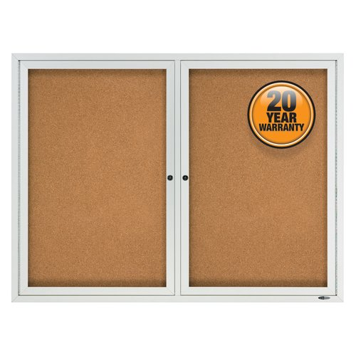 Quartet® Enclosed Cork Bulletin Board for Outdoor Use, 4' x 3', 2 Door, Aluminum Frame