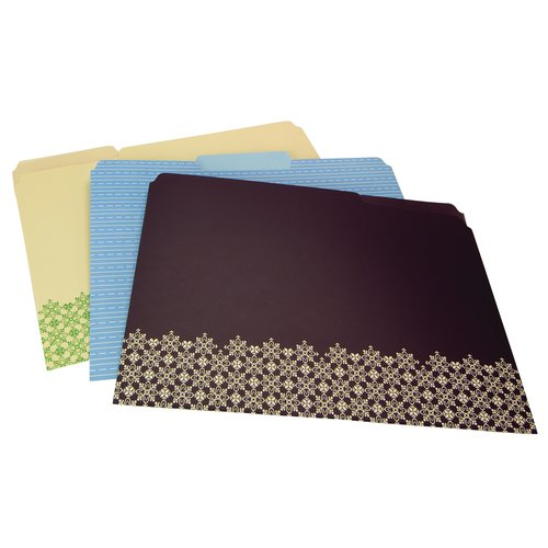 Wilson Jones® Cut and Sewn File Folders, 3 Assorted Designs, 6/Pack