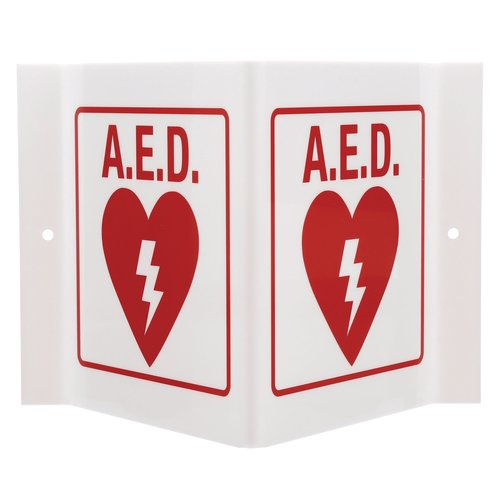 "Quartet® Three-Way Projecting AED Sign, 9"" x 6"""