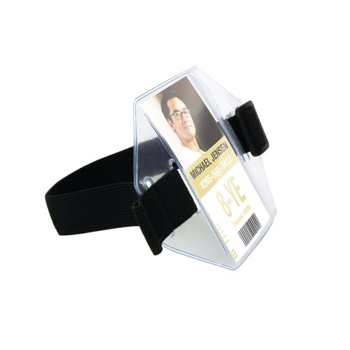 "Swingline™ GBC® Armband ID Holder, For 2 1/4"" x 4"" Inserts, Black"