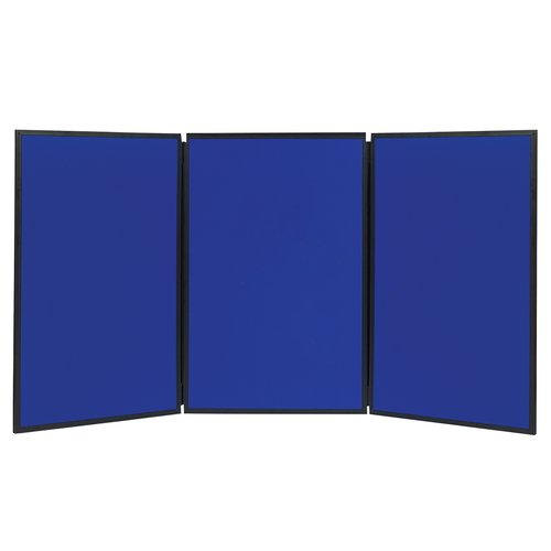Quartet® Show-It! 3-Panel Display System, 6' x 3', Double-sided, Blue/Gray