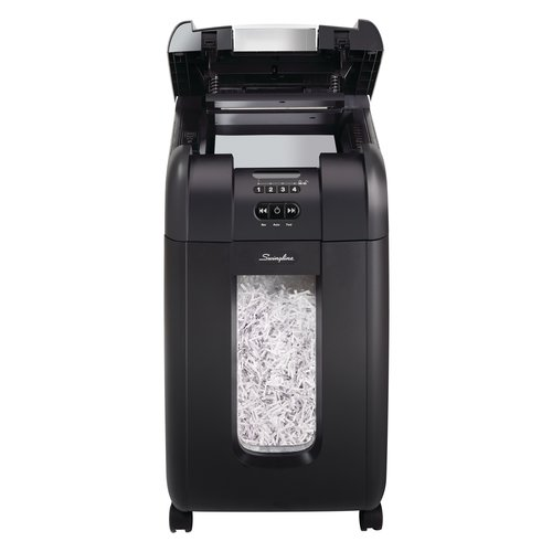 Swingline® Stack-and-Shred™ 300X Hands Free Shredder, Super Cross-Cut, 300 Sheets, 5-10 Users