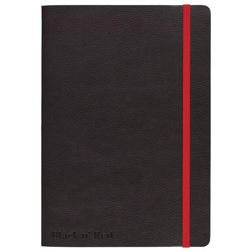 "Black n' Red™ Stitched Business Journal, Soft Cover, Ruled, 71 Sheets, A5, 8 1/4"" x 5 3/4"", Black"