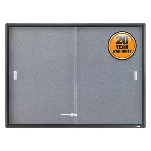 Quartet® Enclosed Fabric Bulletin Board, 4' x 3', Sliding Door, Graphite Frame