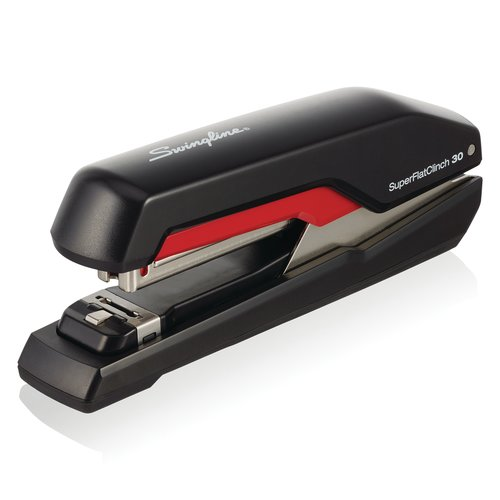 Swingline® SuperFlatClinch™ 30 Desktop Stapler, 30 Sheets, Black/Red