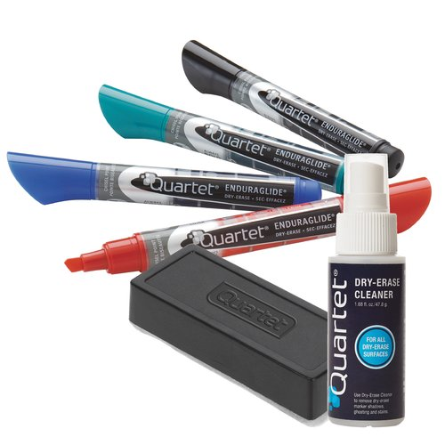 Quartet® EnduraGlide® Dry-Erase Markers Accessory Kit,  Chisel Tip, Assorted Colors, 4 Pack