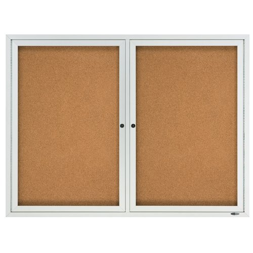 Quartet® Enclosed Cork Bulletin Board for Indoor Use, 4' x 3', 2 Door, Aluminum Frame