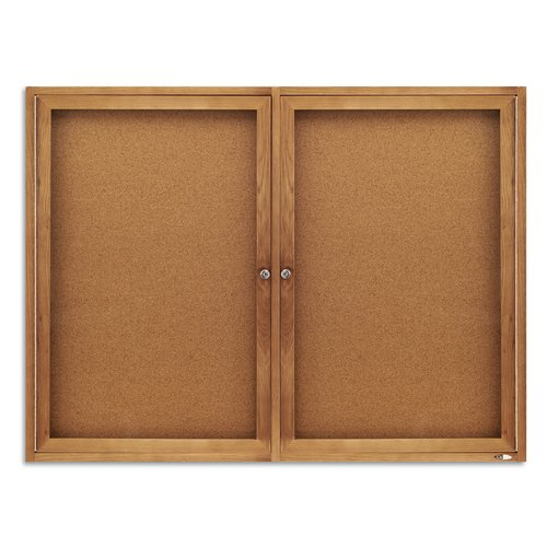 Quartet® Enclosed Cork Bulletin Board for Indoor Use, 4' x 3', 2 Door, Oak Frame