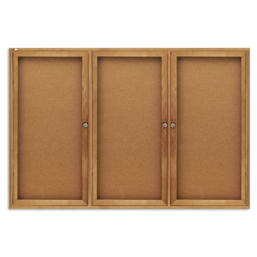 Quartet® Enclosed Cork Bulletin Board for Indoor Use, 6' x 4', 3 Door, Oak Frame