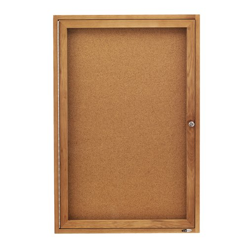 Quartet® Enclosed Cork Bulletin Board for Indoor Use, 2' x 3', 1 Door, Oak Frame
