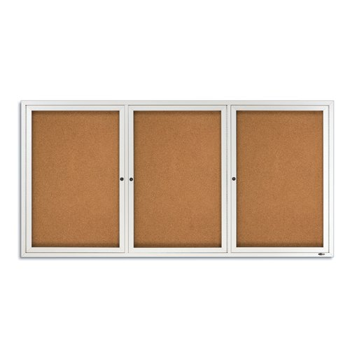 Quartet® Enclosed Cork Bulletin Board for Indoor Use, 6' x 3', 3 Door, Aluminum Frame