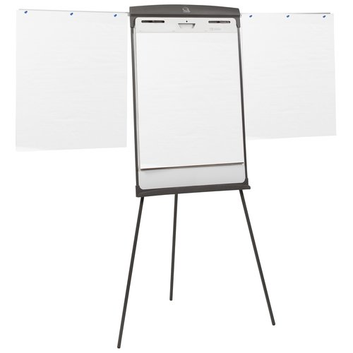 "Quartet® Standard Presentation Easel, Magnetic Whiteboard/Flipchart, 27"" x 35"", Graphite Finish Frame"