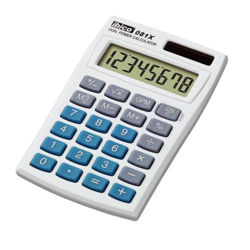 Calculatrice de poche Ibico 081X coloris blanc/bleu