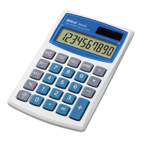 Calculatrice de poche Ibico 082X coloris blanc/bleu