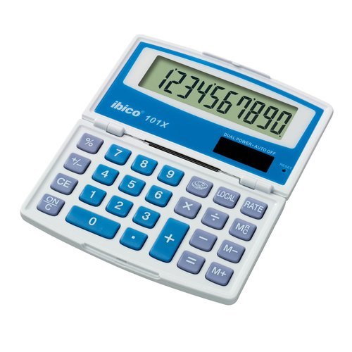 Calculatrice de poche Ibico 101X coloris blanc/bleu