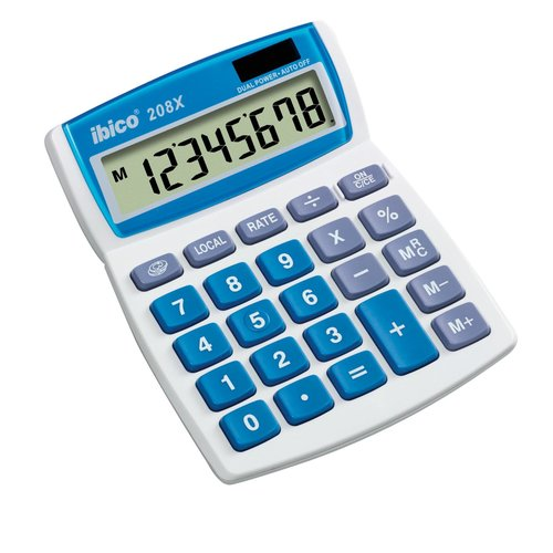 Ibico 208X Desktop Calculator White/Blue