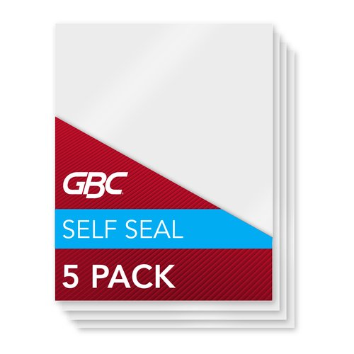 Swingline™ GBC® SelfSeal™ NoMistakes™ Repositionable Self Adhesive Laminating Pouches, Letter Size, Matte Finish, 8 Mil, 5 Pack