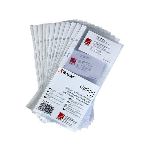Pochettes de recharge classeur cartes de visite Optima