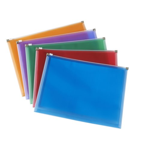 Zip Bags A4 Assorted Colours