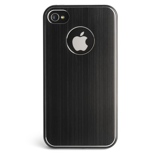 Custodia con finiture in alluminio nero per iPhone 4 e 4S