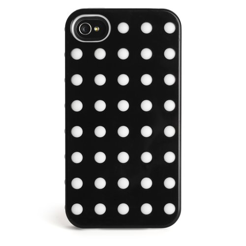 Combination Case for iPhone® 4 & 4S - Black w/White Dots