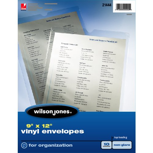 "Wilson Jones® Envelope Pouches, Top-Loading, 9"" x 12"", Non-Glare, 10/Box"