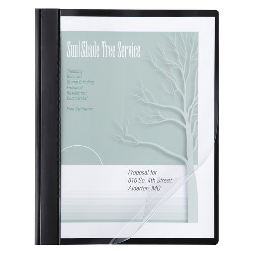 ACCO® Poly Clear Front Report Cover, Letter Size, 100 Sheets, Black, 10/Pack