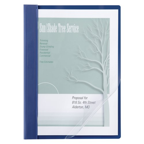 ACCO® Poly Clear Front Report Covers, Letter Size, 100 Sheets, Blue, 10/Pack
