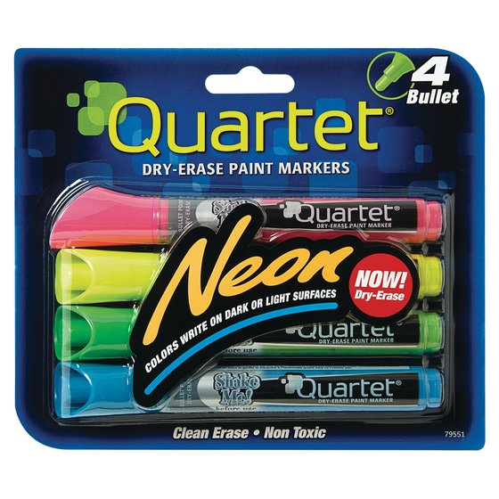 Quartet Neon Dry-Erase Markers, Bullet Tip, Assorted Colors, 4 Pack