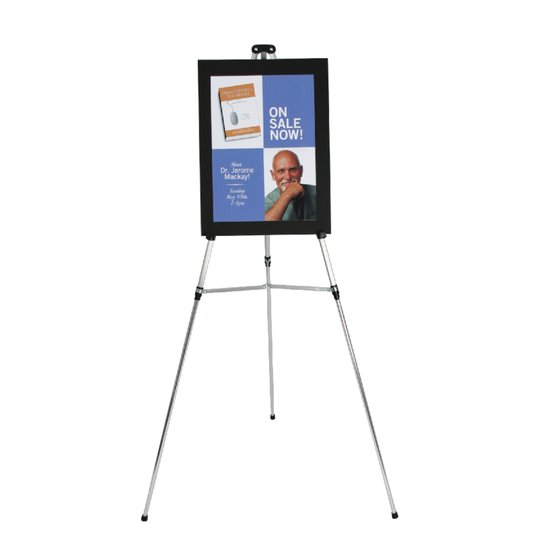 "Aluminum Lightweight Telescoping Display Easel, 66"", Supports 25 lbs., Silver"