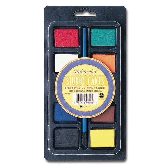 Alphacolor® Studio Cakes, Tempera Set, Assorted Colors, 8/Tray