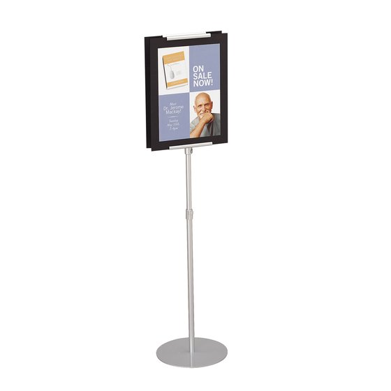 "Quartet® Adjustable Sign Stand, 44""- 73"", Freestanding, 2-Sided"