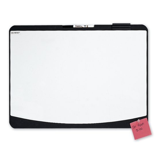 "Quartet® Designer™ Tack & Write® Cubicle Whiteboard, 23 1/2"" x 17 1/2"", Black Frame"