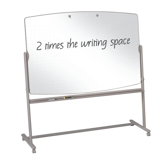Large Reversible Total Erase Mobile Easel, Whiteboard, 6' x 4', Neutral Frame