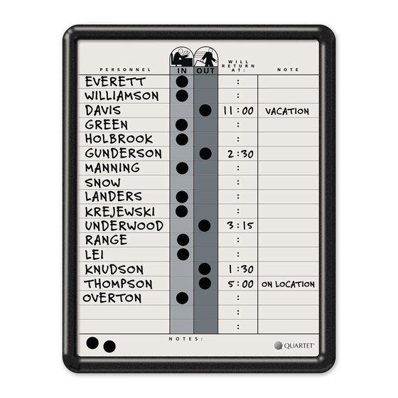 "Quartet® Classic Gray In/Out Board, 11"" x 14"", DuraMax® Porcelain, Black Frame"