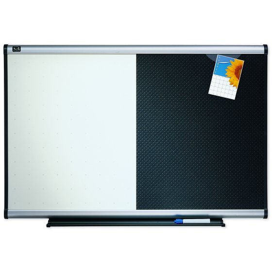 Quartet® Prestige® Combination Board, 3' x 2', Total Erase®/Embossed Foam, Aluminum Frame