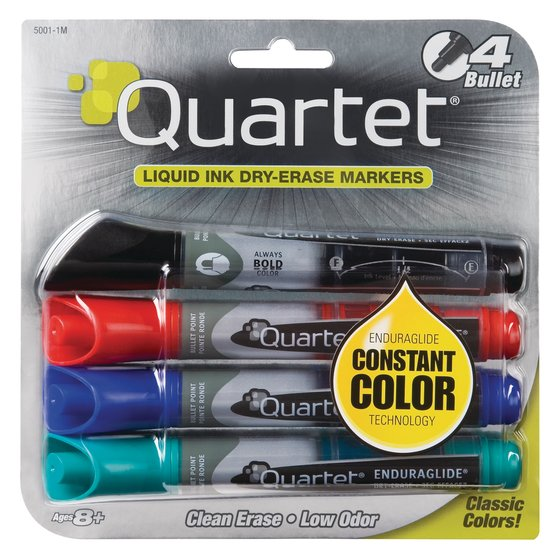 Quartet EnduraGlide Dry-Erase Markers, Bullet Tip, Assorted Colors, 4 Pack