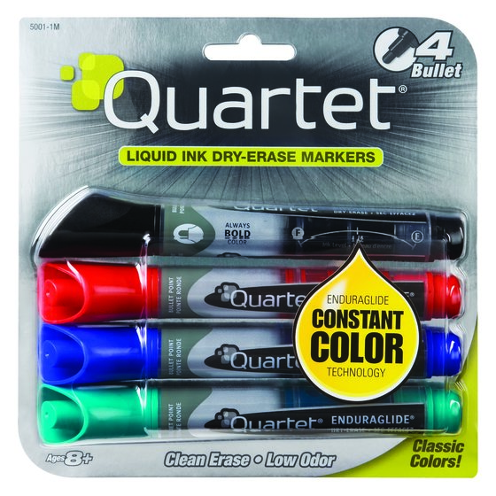 Quartet® EnduraGlide® Dry-Erase Markers, Bullet Tip, Assorted Colors, 4 Pack