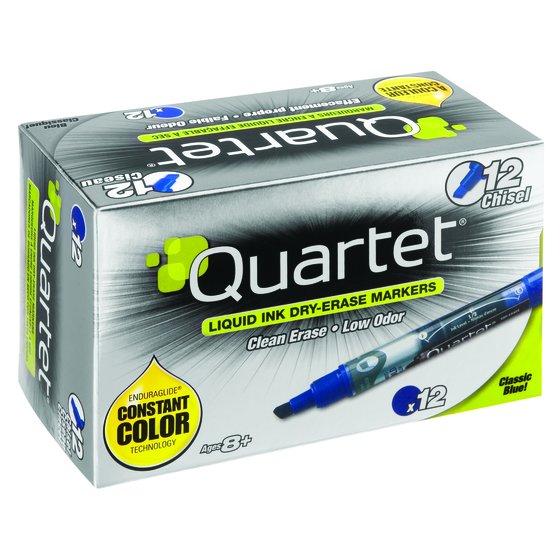 Quartet EnduraGlide Dry-Erase Markers, Chisel Tip, Blue, 12 Pack