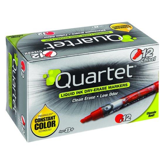 Quartet EnduraGlide Dry-Erase Markers, Chisel Tip, Red, 12 Pack