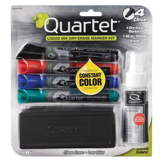 EnduraGlide Dry-Erase Kit, Chisel Tip Dry-Erase Markers, Eraser, Spray Cleaner