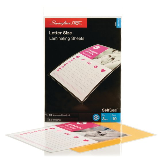 SelfSeal Sheets Letter Size 3 Mil 10 pcs