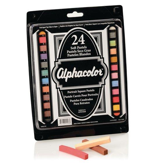 Alphacolor® Soft Square Pastels, Portrait Assortment, 24 Colors, 24/Pack