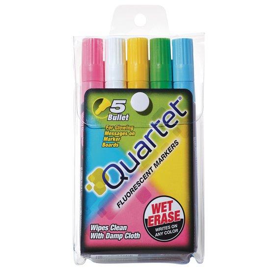 Quartet® Glo-Write® Fluorescent Markers, Wet-Erase, Assorted Colors, 5 Pack