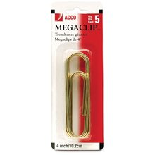 "ACCO® MegaClip® Paper Clips, Smooth Finish, 4"" Size, 5/Pack"