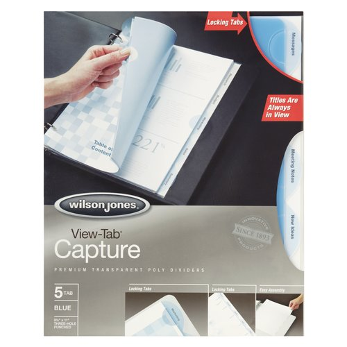 Wilson Jones® View-Tab® Capture Transparent Dividers, 5-Tab Set, Blue Round Tabs