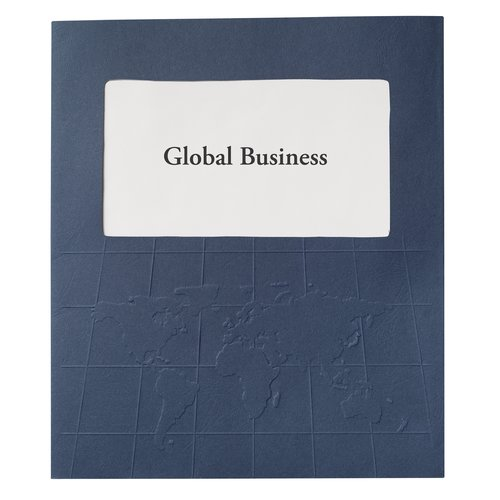 GBC® Designer Global Folders, 50 Sheets, Navy with World Map Design, 5/Pack