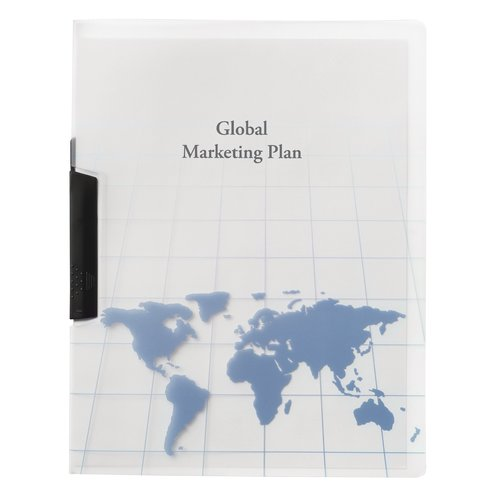 GBC® Globe Swing Clip Report Cover, Punchless, 30 Sheets, Frost with World Map Design