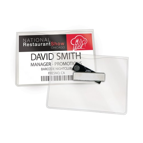 "Swingline® GBC® Magnetic Badge Holders, For Horizontal 4"" x 3"" Inserts, Clear, 6 Pack"